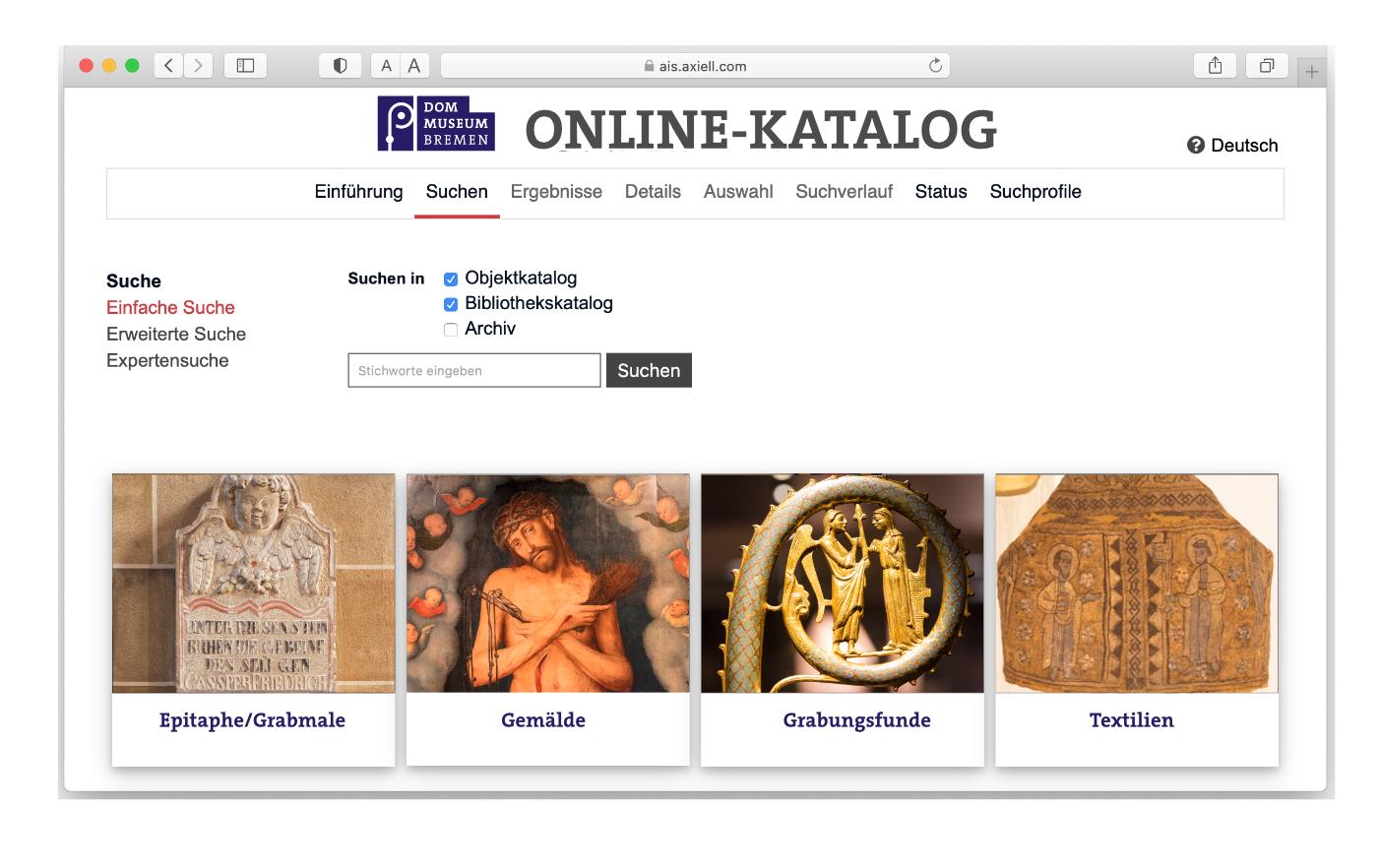 Online recherchieren in Sammlungs- und Bibliothekskatalog